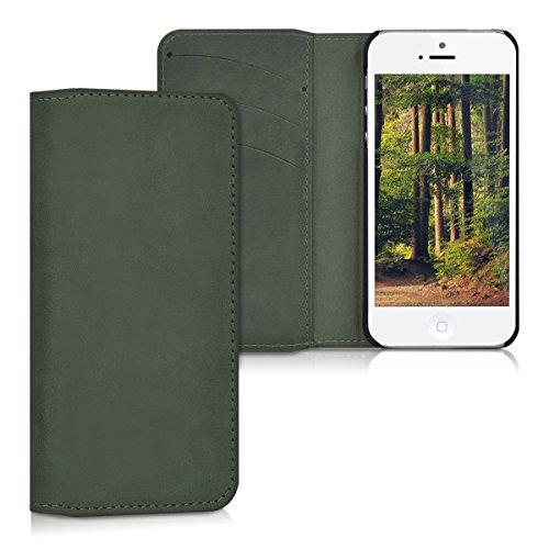 kalibri-Echtleder-Tasche-Hlle-fr-Apple-iPhone-SE-5-5S-Case-mit-Fchern-und-Stnder-in-Dunkelgrau
