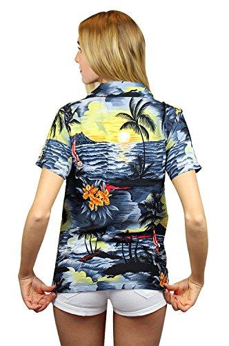 King Kameha | Funky Chemisier Hawaïenne | Femmes | XS - 12XL | Manche-Courte | Poche-Avant | Hawaiian-Imprimer | Le Surf | Gris Gris