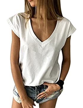 Honghu Verano Casual Mangas Corta V-Cuello Camiseta para Mujer
