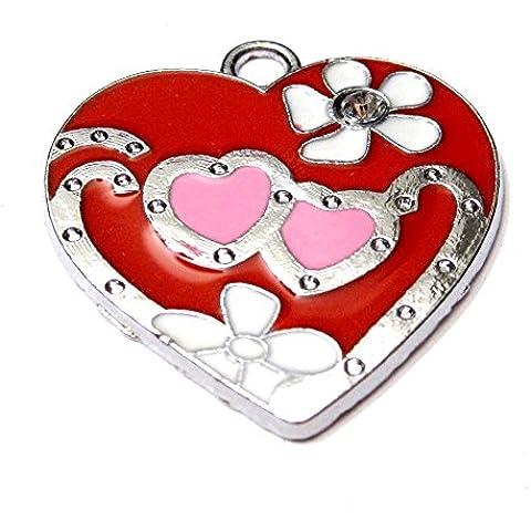 5pezzi 25x 25mm a forma di cuore in lega di zinco, colore: rosso smaltato e ciondoli A0872