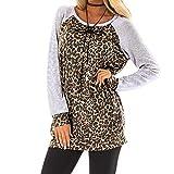 OSYARD Damen Pullover Sweatshirt Oberseiten, Frauen Leopard Printing Gestreift Splice Pulli Tunika Hemd Freizeit Oberteile Strickpullover Rundhals Langarm Bluse Tops Shirt(L, Grau)
