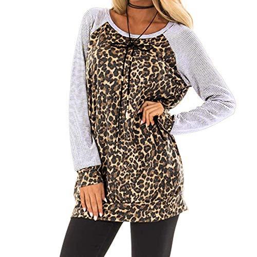 OSYARD Damen Pullover Sweatshirt Oberseiten, Frauen Leopard Printing Gestreift Splice Pulli Tunika Hemd Freizeit Oberteile Strickpullover Rundhals Langarm Bluse Tops Shirt(S, Grau)