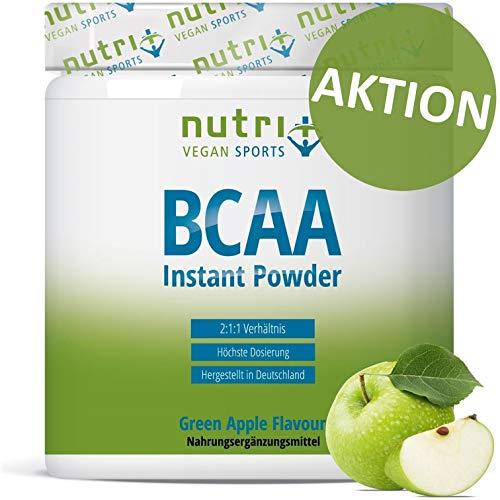 BCAA PULVER Green Apple | Aminosäuren Komplex hochdosiert | BCAAs Instant Powder Vegan | Aminosäure Supplement | Geschmack: Grüner Apfel 300g | hergestellt in Deutschland -