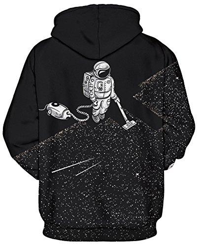TDOLAH Herren Kapuzenpullover Schwarz Sweat Hoodie Digitaldruck Sweatshirt Pullover Astronaut-Vakuum