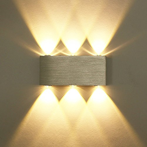 Unimall 6W LED Wandleuchte innen Wandlampe aus Aluminum mit schönem Lichtkeffekt Dekoration in Flur Treppe Wohnzimmer Schlafzimmer Silber Warmweiß