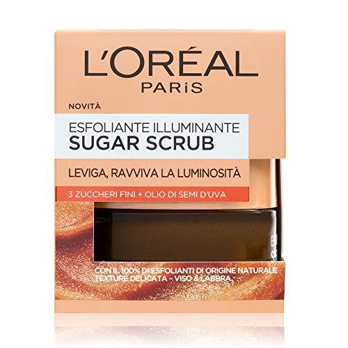 L'Oréal Paris Sugar Scrub Esfoliante Illuminante Viso & Labbra con Cristalli Fini di Zucchero + Olio di Semi d'Uva, 50 ml
