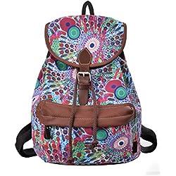 DGY - Moda la mochila de lona y PU cuero Bolsos para mujer Bolsa de Viaje Mochilas Tipo Casual (164 Verde)