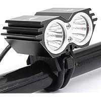 SYGoodBUY Iluminación Delantera para la Lámpara de la Bicicleta Bicicleta 5000 Lúmenes 2X Cree XM-L U2 LED Linterna Impermeable Bicicleta de la luz MTB VTC Bicicleta Ciclismo (Color : Negro)
