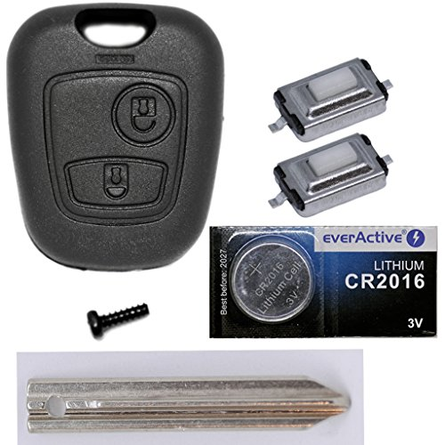 Clés de Voiture Télécommande 1x boîtier + 1x Vierge sx9+ 2x mikrotaster + 1x CR2016batterie pour Citroën/Peugeot/Toyota