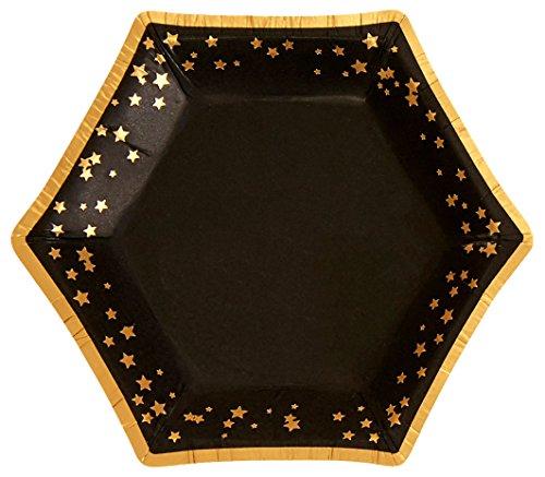 Neviti 773338 Papierteller, schwarz/gold, S Teller Gold Trim