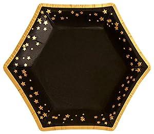 Neviti- Glitz and Glamour Platos de papel, Color black/gold, Small (773338)