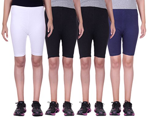Alisha Stretchable Cycling Shorts - Pack of 4 (WHT_BLK_BLK_NVY_28)