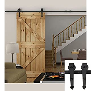 Hahaemall 8FT/96 Arrow Design Black Country Barn Wood Steel Sliding Single Door Hardware Closet Set by Hahaemall