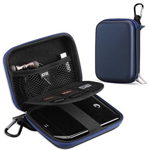 AGPTEK EVA Festplattentasche 2,5 Zoll, Stoßsichere externe Festplatte Tasche für HDD, SSD Power Bank, Speicherkarte und anderes Zubehör, Blau