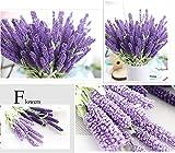 12cabezales ramo de flores artificiales de seda lavanda