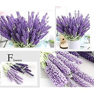 12cabezales de ramo de flores artificiales de seda lavanda Ramo de flores artificiales de flores artificiales flor decorativa