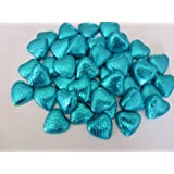 50 Turquoise Foil Milk Chocolate Hearts Wedding Favours