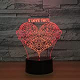 Legno Amour Papillon Lumières 3D Coloré Tactile Télécommande 3D Led Vision Allume Petite Lampe De Table @C