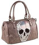LIBERTA Tasche Totenkopf Skull LI1051 Damen Bowling Bag Skulls 33x22x14 cm (BxHxT)