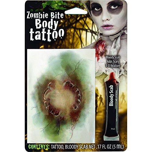 Biss-Wunde 12 x 8 cm Tattoo und 5 ml Kunstblut Halloween Vampir Blut Blutig (Hollywood Fx Halloween Make Up)