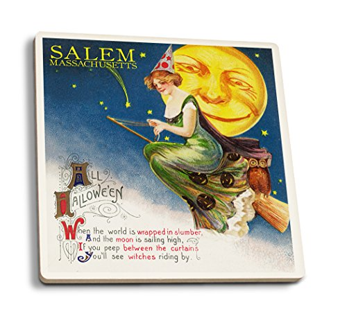 Salem, Massachusetts-Halloween Hexe und Mond-Vintage Postkarte, keramik, mehrfarbig, 4 Coaster Set