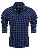 Burlady Flanellhemd Herren Slim fit Karohemd Freizeithemd Kariertes Hemd aus Reiner Baumwolle Frühling Herbst Winter blau m