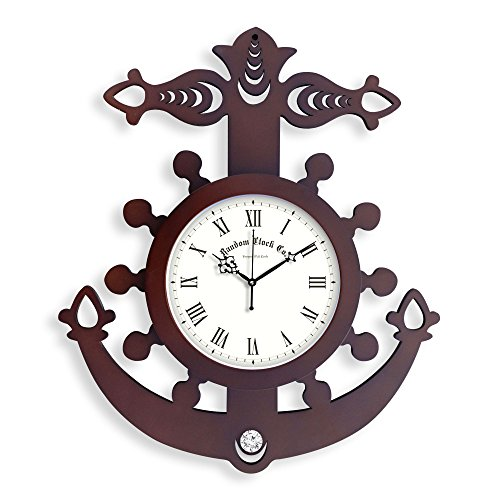 Random Clocks Anchor Round Wood Wall Clock (38 cm x 32 cm x 5 cm, Brown)