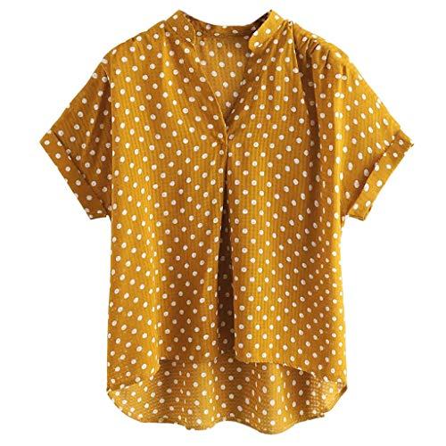 SMILEQ Frauen Ärmelloses Rollkragenpullover Solide Casual Bluse Top T-Shirt Plus Größe (Gelb, L)