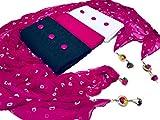 Vaankosh Fashion Women's Combo Set of 2 Kurti Dress Material with 1 Bottom and 1 Dupatta (Black, White, Pink)