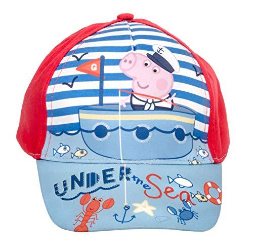 Peppa Wutz Peppa Pig Unisex Jungen Mädchen Mütze Baseball Cap Cappy (Blau-Rot, Gr. 52 cm) (Pig Hut Peppa)