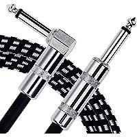 Anpro 3m Gitarren Instrumentenkabel 6.3mm Lärmschutz mit Abgewinkelte Stecker und 1 Standard Klinke für die E-Gitarre, Bassgitarre, Keyboard
