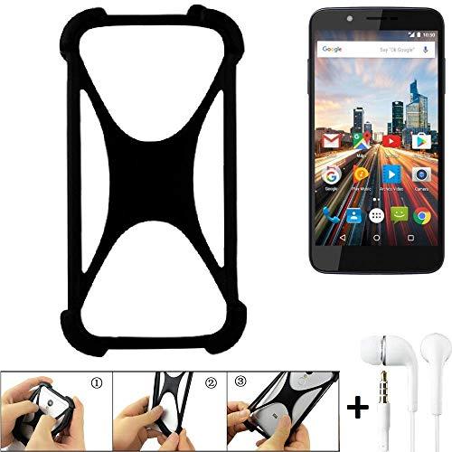 K-S-Trade Handyhülle für Archos 55 Helium 4Seasons Schutzhülle Bumper Silikon Schutz Hülle Cover Case Silikoncase Silikonbumper TPU Softcase Smartphone, schwarz (1x), Headphones