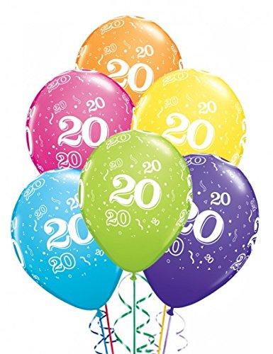 6 Luftballons Deko 20 Geburtstag farbig sortiert ca. 28 cm Zahl 20 Geburtstag (Ballongas geeignet)