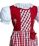 Kinder Dirndl mit Beutelchen 3 Teilig mit Unterrock und Bluse Kindertrachten 127 auch in Gr 158-164 für mollige Kinder (98-104, Rot-Karo)
