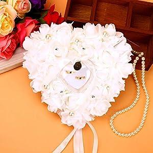 Ehering Box Spitze Hintergrund herzförmige Ring Inhaber Rose Ringkissen mit Band Perle Schaum Blumendekoration