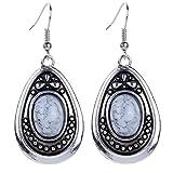 Yazilind vendimia de color plata oval blanco de la turquesa cuelga gota de los pendientes del gancho Mujeres de regalo