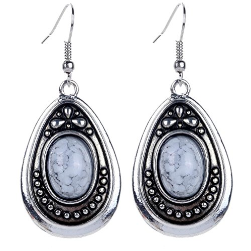 Yazilind Klassiker tibetischen Silber Weiß Oval Türkis baumeln Haken Ohrringe Frauen verheiratet (Dornröschen Ohrringe)