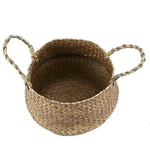 Yalulu Foldable Rattan Basket Flower Pot Storage Basket Woven Seagrass Laundry Basket Hamper Home Decor