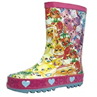 Shopkins Girls Wellies - Pink with All Over Multi Colour Print
