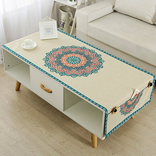 Nappe Coton Et Lin Rectangle Salon Table Table Mat Table À Manger TV Cabinet Couverture Tissu Nappe Antipoussière ( Couleur : Style3 , taille : 60*170cm )