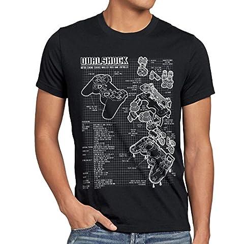 style3 Dualshock Contrôleur T-Shirt Homme PS console de jeux manette, Taille:S;Couleur:Noir