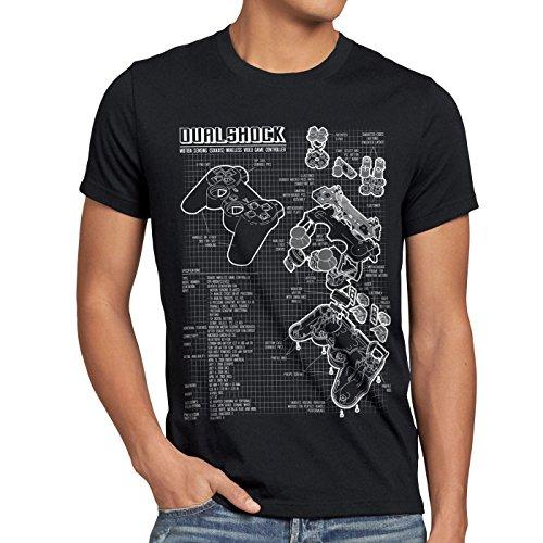 style3 Dualshock Controller Blaupause Herren T-Shirt PS Gamepad Konsole, Größe:L, Farbe:Schwarz (Ps2 Komplett Konsole)
