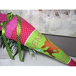 #30 Reh Rehkitz pink-grün Schultüte Stoff + Papprohling + als Kissen verwendbar
