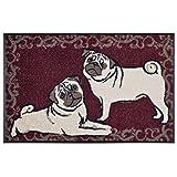 Wash&Dry Waschbare Fußmatte Mops weinrot 50x75 cm Fußabstreifer mit lustigem Hunde Motiv - Türmatte