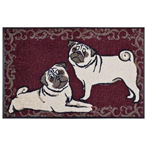 Wash&Dry Waschbare Fußmatte Mops weinrot 50x75 cm Fußabstreifer mit lustigem Hunde Motiv - Türmatte Wash Mop