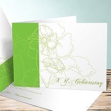 Einladung 80er Party Geburtstag, Geburtstagsblüten 10 Karten, Horizontale  Klappkarte 148x105 Inkl. Weiße Umschläge