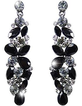 EVER FAITH® Tropfen Blume Cluster Dangle Ohrringe Jet farbe österreichischen Kristalls schwarz-Ton N02056-5