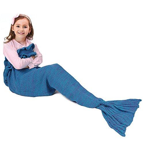 (Regali ideali) Vesgantti Coperta per Bambini a Coda di Sirena, Morbida coperta a forma di coda di sirena per i vostri momenti di relax,Misure (140cm * 70cm)--Colore:Blu reale