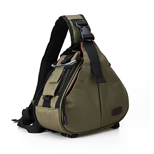 Caden Kompakte Kameratasche Sling Schulter Cross Bag Carry Umhängetasche Abnehmbare Gepolsterte Teiler für DSLR / SLR Sony Canon Nikon 1 Kamera 2 Objektiv Stativ(verde ejército) Speicherkarte Canon T5i