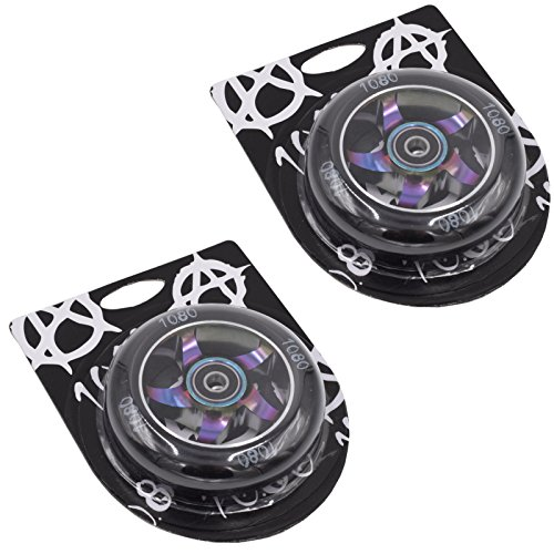 Ten Eighty 100mm Ninja Stunt Scooter Wheels (Pair) - NeoChrome/Black